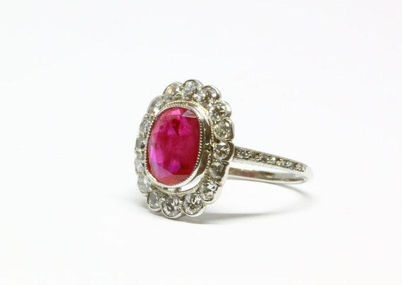 1920s Burma Ruby Art Deco Ring, 2.82 ct, Unheated