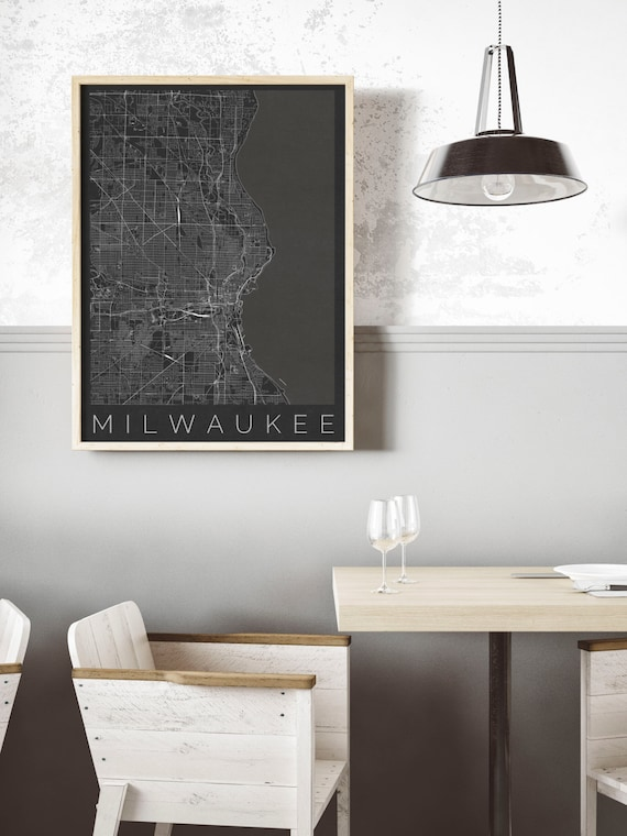 Map Of Milwaukee, Wisconsin   Travel Decor   Map ART   Milwaukee Poster    Wisconsin Print   Scandinavian Art   Black And White Poster
