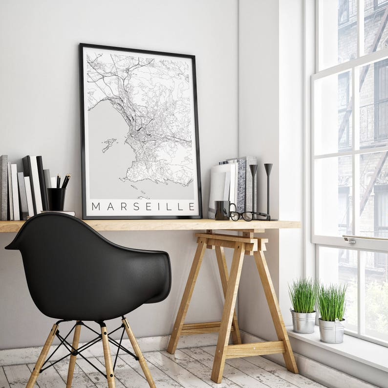 Mapa Marsylii Francja Pasuje Do Ramy Ikea Wystrój Wnętrz Wanderlust Sztuki Skandynawskiej Plakat Turystyczny W Marsylii Czarny Biały Plakat