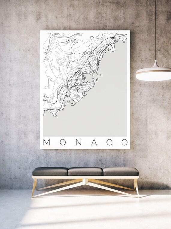 karte von monaco passend f r ikea rahmen monaco karte etsy. Black Bedroom Furniture Sets. Home Design Ideas
