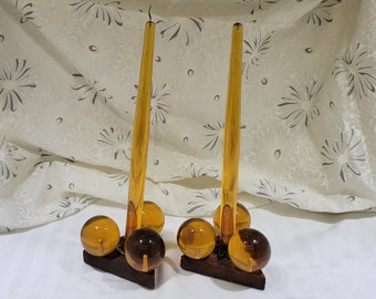 Vintage Mid-Century Lucite Acrylic Ball Amber Taper Candlestick Holders MCM Décor