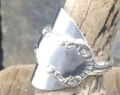 Sterling Silver Spoon Ring, Crafted from an Ornate Demitasse Coffee Spoon Louis XV Pattern English Hallmark 1914 - Handmade by Adrift Crafts