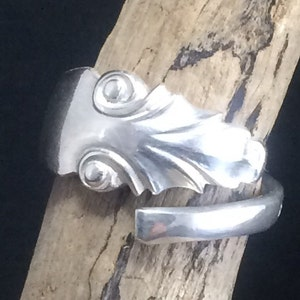 Sterling Silver Spoon Handle Wrap Ring Handmade by Adrift Crafts Adjustable  Crafted from a Silver Coffee Spoon Handle Sheffield 1916