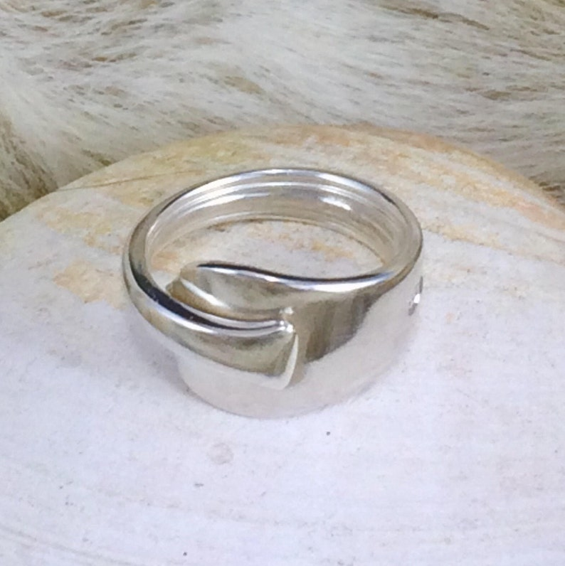 Adjustable  Crafted from a Silver Coffee Spoon Handle Sheffield 1916 Sterling Silver Spoon Handle Wrap Ring Handmade by Adrift Crafts