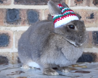 Christmas beanie for bunnies, red, green, white with bell pet rabbit Christmas beanie, pet rabbit clothes and accessories, peppermint design