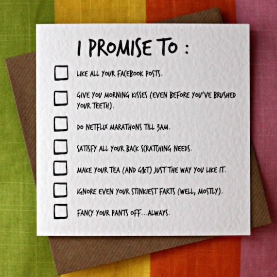 Items Similar To I Promise To Funny Love Card Funny