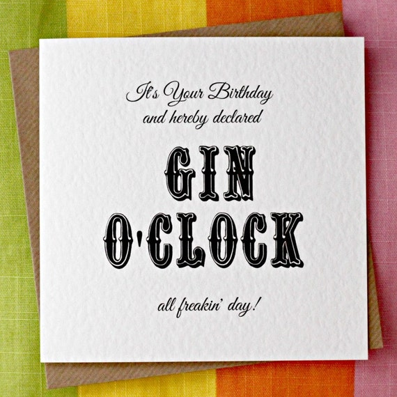 Gin OClock Funny Birthday Card