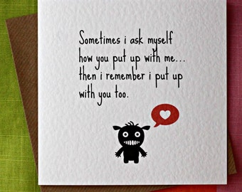 Put Up With Me-Funny Love Card, Funny Friendship Card,Funny Anniversary Card, Funny Valentine card,Husband, Wife, Boyfriend, Girlfriend card
