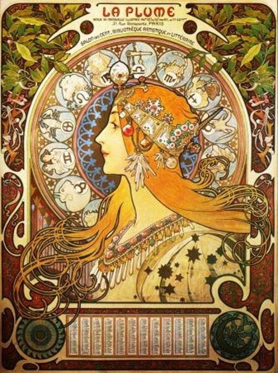 Zodiac Alphonse Mucha Digital vintage Art Nouveau poster instant download  image Craft art supplies decoupage scrapbooking A9F