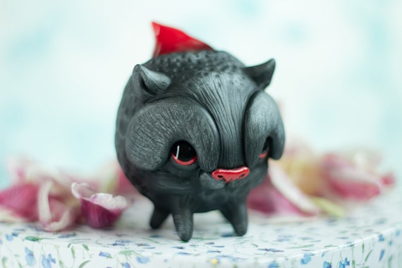 Coal cat figurine figure clay sculpture hybrid animal miniature ooak doll collectible handmade toy red