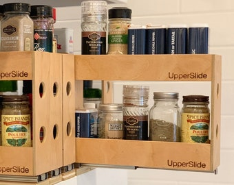 UpperSlide Cabinet Caddies Double Pull Out Spice Rack Large (US 303DL) - FREE SHIPPING