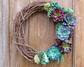 Succulent Wreath, Spring Wreath, Purple Succulents, Succulent Decor, Purple Wreath, Natural Wreath, Faux Succulent Wreath, Rustic Wreath