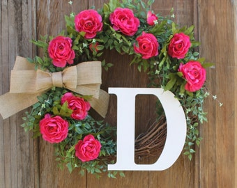 Initial Wreath, Monogram Wreath, Personalized Wreath, Front Door Wreath, Summer Wreath, Spring Wreath, Pink Wreath, Floral Wreath
