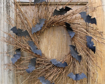Halloween Wreath, Bat Wreath, Halloween Decor, Halloween Door Wreath, Front Door Wreath, Bat Decor, Classy Halloween Wreath, Natural Wreath