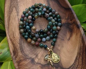 HEALTH + ABUNDANCE Mala Indian Agate Ganesha Mala Beads 108 Ganesh Mala 108 Bead Mala Necklace Ganesha Mala Beads 108, Meditation Gift
