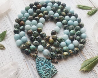Mala Necklace 108 Mala Beads Buddha Necklace 108 Mala Beads Mala Prayer Beads Yoga Necklace Knotted Mala Turquoise Amazonite Mala Beads 108