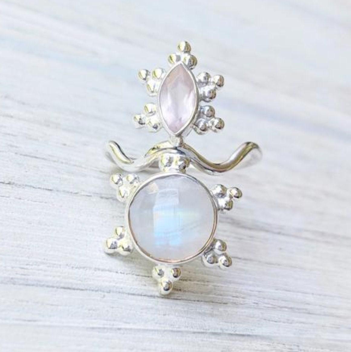 326503033 SHAKTI Divine Feminine Goddess Ring Rose Quartz & Moonstone | Etsy