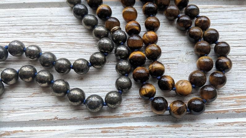 Pyrite /& Tigers Eye Mala Necklace Knotted Mala Beads 108 \u2022 Mala For Creativity \u2022 Unisex Mens Mala Beads CREATIVE EXPRESSION Mala Sodalite