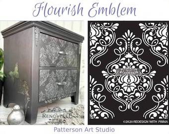"Redesign with Prima Reusable Furniture Decor Stencil - FLOURISH EMBLEM 13.5""x 9"""