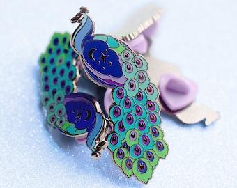 Square Lapel Pin Peacock Button Badge