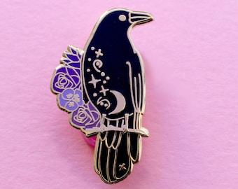 Raven Enamel Pin, Crow Enamel Pin