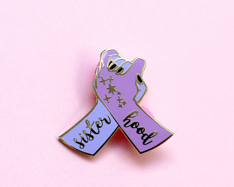 Charm Feminism Slogan Pin Gifts for Women Girls Her Best Friend Sisterhood Hand Purple Pink Feminist Enamel Lapel Pin Badge