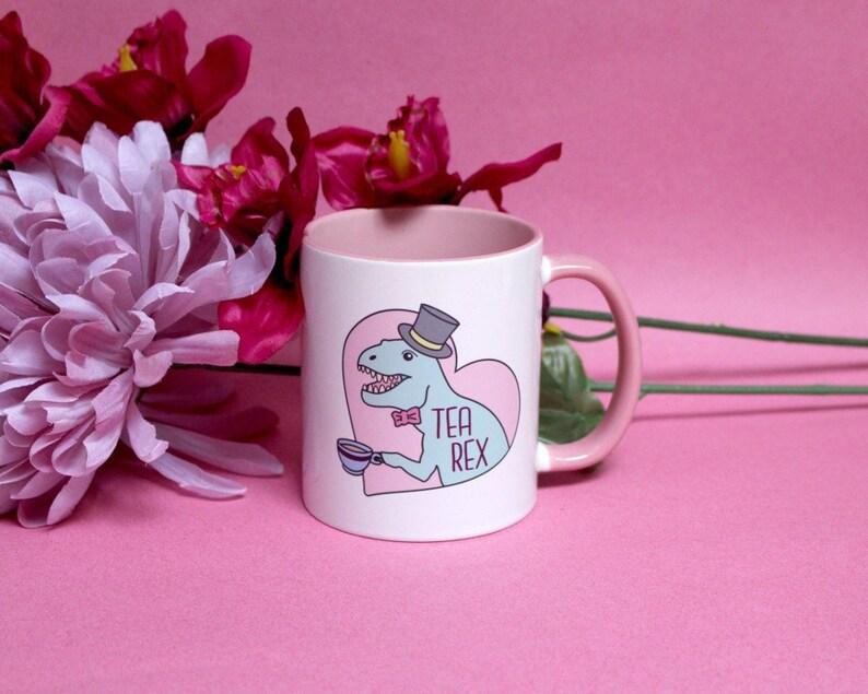 Pink Loveheart Tea Rex Mug