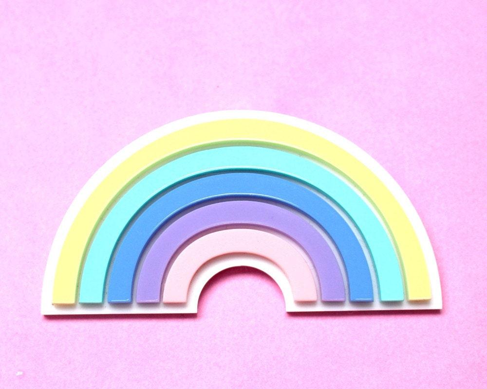 Acrylic pastel rainbow brooch pop culture brooch Pride