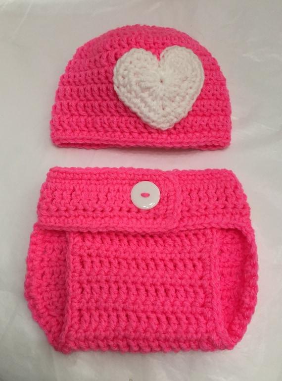 501fc162222b Crochet Hat and Diaper Cover Newborn Set Baby Diaper Cover