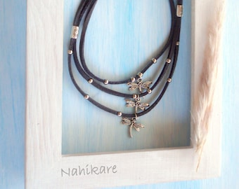 Dragonflies/Dragonfly Choker 3 in 1-Minimálista-beach or city-three laces of suede different colors