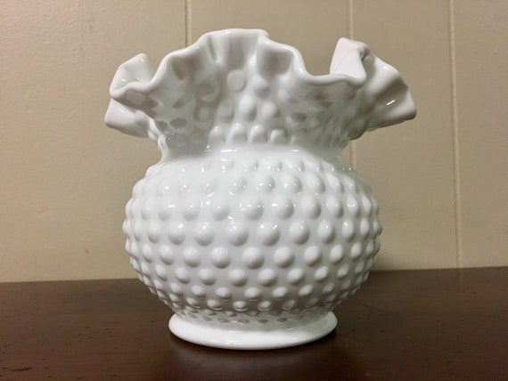 Fenton Hobnail Milk Glass Vase With Ruffled Top Round White Etsy