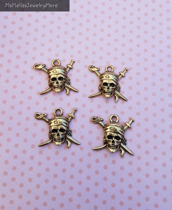 Pirate skull charm, Pewter Charms, jewelry charm, fantasy charm, silver skull, gold skull
