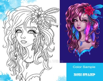 Special Price! Feathers - Fantasy Coloring Sheet Digi Stamp Girl with Flowers, Feathers - Line Art for Cards & Crafts. Instant Download!