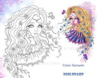 Where are you - Fantasy Coloring Sheet Stamp Adult Coloring Girl with Flowers - Line Art for Cards & Crafts. Instant Download!