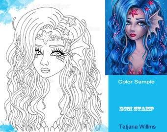 Blue Mermaid - Fantasy Coloring Sheet Digi Stamp Adult Coloring Girl with Seastars - Line Art for Cards & Crafts. Instant Download!