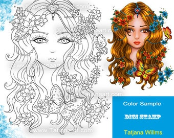 Diane - Fantasy Coloring Sheet Digi Stamp Adult Coloring Girl flowers Butterfly. Instant Download!
