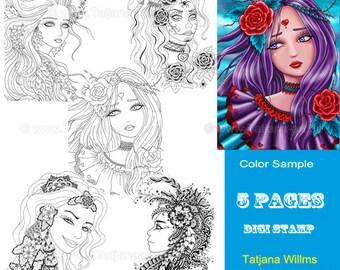 Set 2 - Fantasy Coloring Sheet Digi Stamp Adult Coloring Girls Flowers Portrait - Line Art for Cards & Crafts. Instant Download!