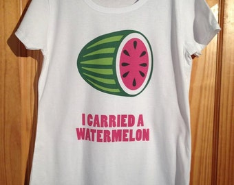 Dirty Dancing - I Carried A Watermelon Cult Film T-Shirt (Patrick Swayze) - White Female Shirt