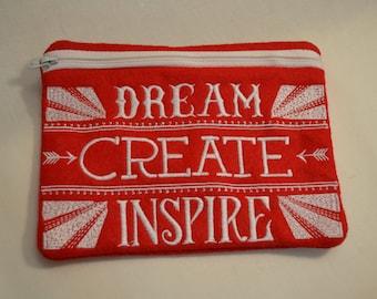 Dream Create Inspire Zipper Bag