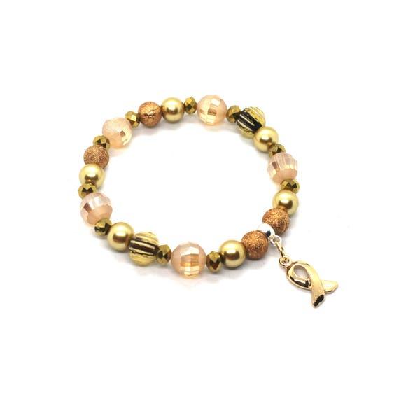Gold Awareness Bracelet Childhood Cancer Pediatric Cancer Etsy