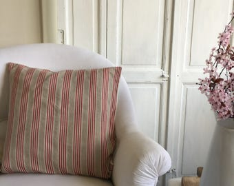 Pillowcase made from vintage French ticking fabric