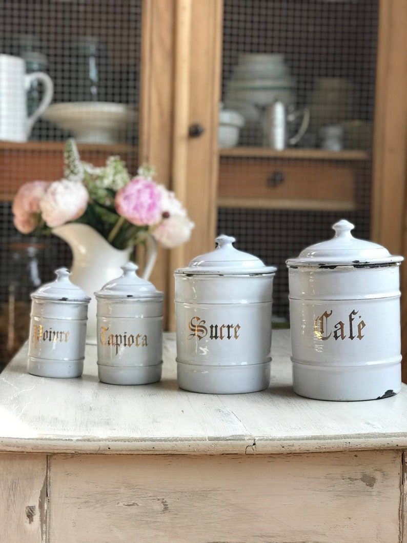 Beautiful enamelware set of vi rage French kitchen canister image 0