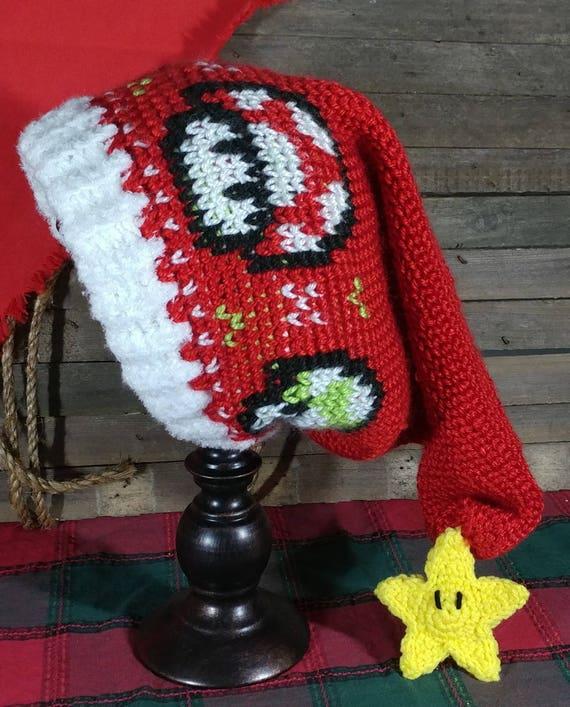 Crochet Pattern Mario Mushroom Santa Hat