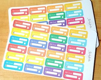 W02 Bill Due Dollar / Pound Sign Multicolored Planner Stickers, Organise stickers, Erin Condren, Paid, Finance Money Bills, Pay Day, Bill