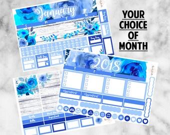 W28 Monthly Kit EC Vertical, Floral Blues, January 2018, Monthly Planner Kit, Planner Stickers, Monthly Sticker Kit,Blue Roses, Floral Kit