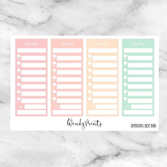 w100 spending side bar trackers planner stickers made for etsy