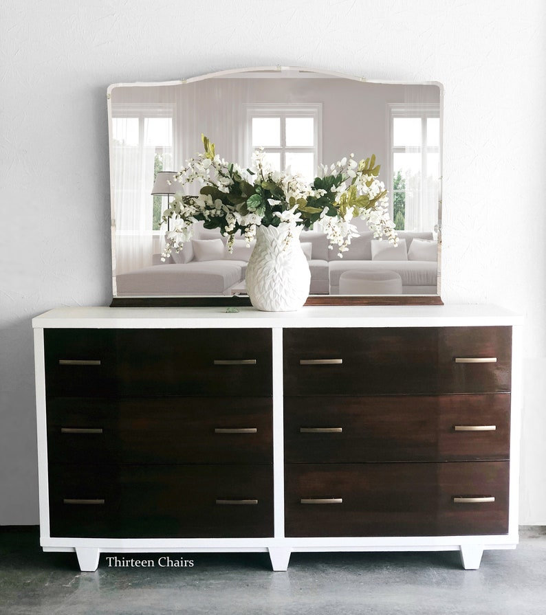 Vintage Six Drawer Dresser Painted A Creamy White With Etsy