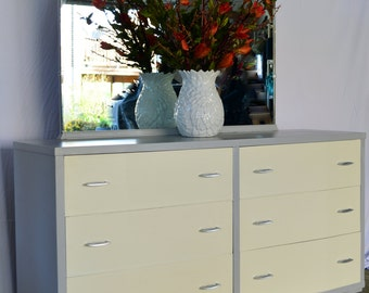 Vintage dresser painted with Annie Sloan Paris Grey and Old White Chalk Paint
