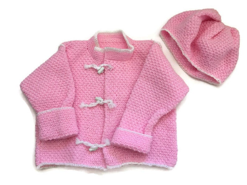 b8774c57c Hand Knitted Toddler Cardigan Sweater with Hat Hand Knit   Etsy