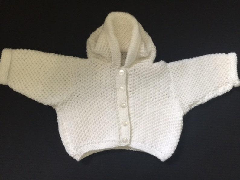 Mano de punto bebé suéter Baby Cardigan con capucha blanco  f4dd0bff118c